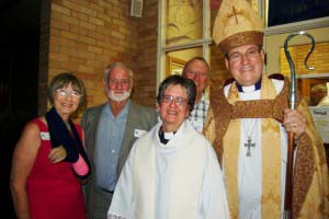 Bishop Andrew and Rev Jan with Swan Hill wardens, Marg Crilly, John Dillon and Ernie Russell